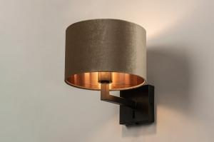 wandlamp 30909 landelijk rustiek modern eigentijds klassiek stof metaal zwart mat koper taupe