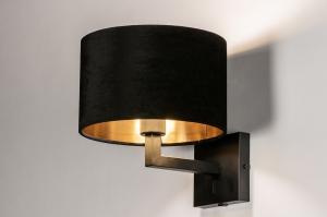 wandlamp 30910 landelijk rustiek modern eigentijds klassiek stof metaal zwart mat glans goud