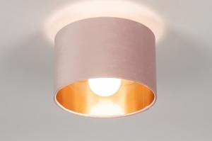 plafondlamp 30911 modern retro eigentijds klassiek art deco voor kinderen stof metaal zwart mat goud roze rond