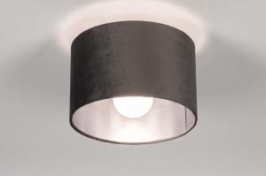 plafondlamp 30912 modern retro eigentijds klassiek stof metaal zwart mat grijs antraciet donkergrijs rond
