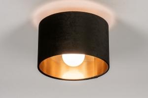 plafondlamp 30914 modern retro eigentijds klassiek art deco stof metaal zwart mat goud rond