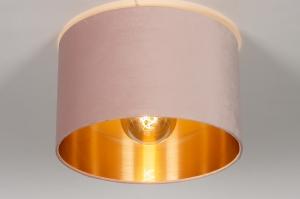 plafondlamp 30915 modern retro eigentijds klassiek art deco voor kinderen stof metaal zwart mat goud roze rond