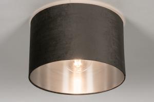 Deckenleuchte 30916 modern Retro zeitgemaess klassisch Stoff Metall schwarz matt grau anthrazit rund