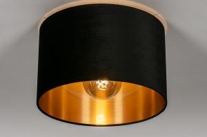 plafondlamp 30918 modern retro eigentijds klassiek art deco stof metaal zwart mat goud rond