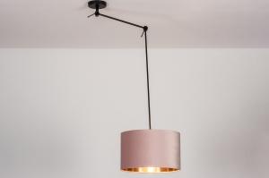 hanglamp 30919 landelijk rustiek modern eigentijds klassiek stof metaal zwart mat roze koper