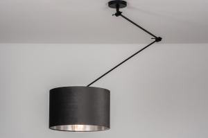 hanglamp 30920 landelijk rustiek modern eigentijds klassiek stof metaal zwart mat grijs zilver  oud zilver