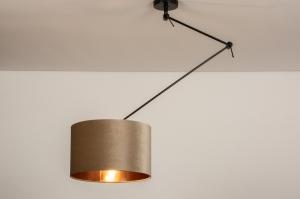 hanglamp 30921 landelijk rustiek modern eigentijds klassiek stof metaal zwart mat koper taupe
