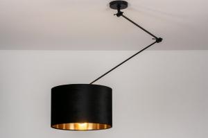hanglamp 30922 landelijk rustiek modern eigentijds klassiek stof metaal zwart mat goud