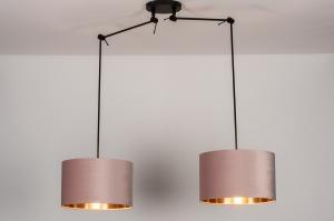 hanglamp 30923 landelijk rustiek modern eigentijds klassiek stof metaal zwart mat roze koper