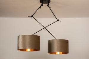 hanglamp 30925 landelijk rustiek modern eigentijds klassiek stof metaal zwart mat koper taupe