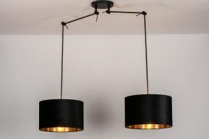 hanglamp 30926 landelijk rustiek modern eigentijds klassiek stof metaal zwart mat glans goud