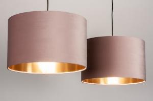 hanglamp 30927 landelijk rustiek modern eigentijds klassiek stof metaal zwart goud roze koper