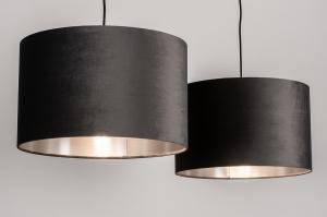 hanglamp 30928 landelijk rustiek modern eigentijds klassiek stof metaal zwart grijs zilvergrijs