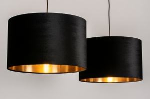 hanglamp 30930 landelijk rustiek modern eigentijds klassiek stof metaal zwart goud