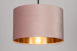 hanglamp 30931 landelijk rustiek modern eigentijds klassiek stof metaal zwart goud roze koper