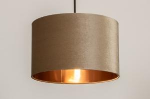 hanglamp 30933 landelijk rustiek modern eigentijds klassiek stof metaal zwart koper taupe