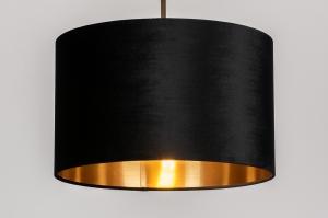 hanglamp 30934 landelijk rustiek modern eigentijds klassiek stof metaal zwart goud