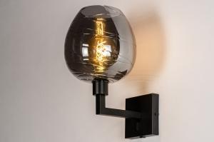 wandlamp 30936 glas metaal zwart mat grijs