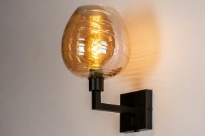 wandlamp 30937 glas zacht geel metaal zwart mat