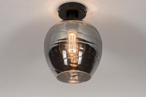 plafondlamp 30938 modern retro eigentijds klassiek glas metaal zwart mat grijs rond