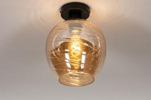plafondlamp 30939 modern retro eigentijds klassiek art deco glas metaal zwart mat goud geel rond