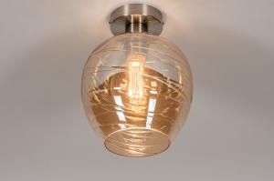 plafondlamp 30941 modern retro eigentijds klassiek glas staal rvs metaal goud geel staalgrijs rond