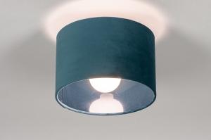 plafondlamp 30942 modern retro eigentijds klassiek voor kinderen stof metaal zwart mat blauw petrol rond