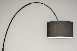 vloerlamp 30944 modern retro stof metaal zwart mat rond langwerpig