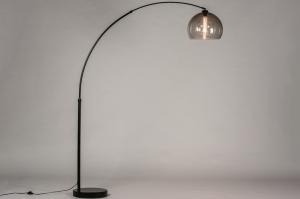 vloerlamp 30945 modern retro glas kunststof metaal zwart mat grijs bruin rond