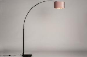 vloerlamp 30946 modern retro eigentijds klassiek stof metaal zwart mat goud roze rond