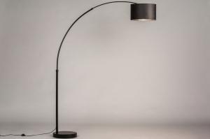 vloerlamp 30947 modern retro eigentijds klassiek stof metaal zwart mat grijs zilvergrijs antraciet donkergrijs rond