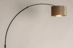 vloerlamp 30948 modern retro eigentijds klassiek stof metaal zwart mat roodkoper taupe rond