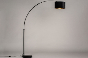 vloerlamp 30949 modern retro eigentijds klassiek stof metaal zwart mat goud rond langwerpig