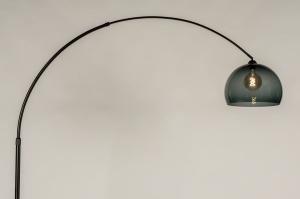 staande lamp 30950 modern retro glas kunststof metaal zwart mat rond