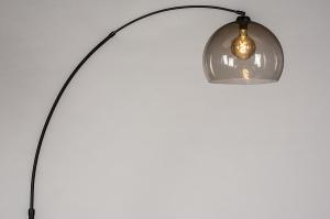 vloerlamp 30951 modern retro glas kunststof metaal zwart mat grijs bruin rond