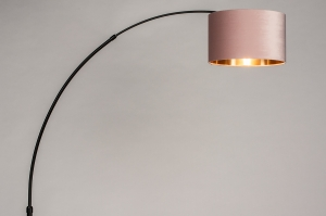 vloerlamp 30952 modern retro eigentijds klassiek stof metaal zwart mat goud roze rond
