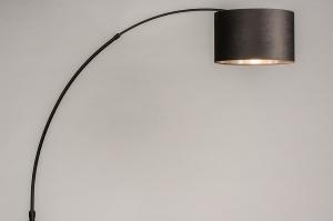 vloerlamp 30953 modern retro eigentijds klassiek stof metaal zwart mat grijs zilvergrijs antraciet donkergrijs rond