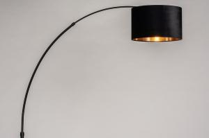 vloerlamp 30955 modern eigentijds klassiek art deco stof metaal zwart mat goud rond