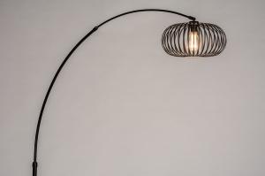 staande lamp 30956 industrie look modern retro metaal zwart mat rond