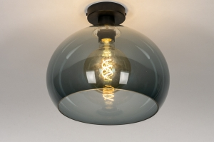 plafondlamp 30958 modern retro glas kunststof acrylaat kunststofglas metaal zwart mat grijs rond