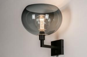 wandlamp 30959 modern retro glas kunststof acrylaat kunststofglas metaal zwart mat grijs antraciet donkergrijs rond