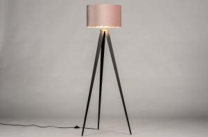 vloerlamp 30960 landelijk rustiek modern klassiek eigentijds klassiek hout stof zwart mat roze koper