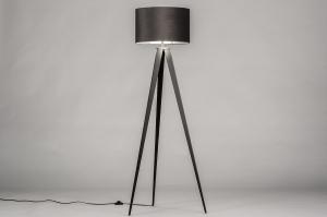 vloerlamp 30961 landelijk rustiek modern klassiek eigentijds klassiek hout stof zwart mat zilvergrijs zilver  oud zilver