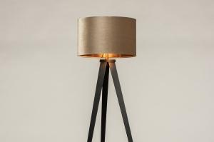 vloerlamp 30962 landelijk rustiek modern klassiek eigentijds klassiek hout stof zwart mat koper taupe