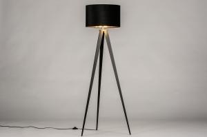 vloerlamp 30963 landelijk rustiek modern klassiek eigentijds klassiek hout stof zwart mat goud