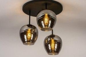 plafondlamp 30964 modern retro eigentijds klassiek art deco glas zwart mat grijs rond
