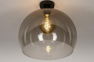 plafondlamp 30965 sale modern retro kunststof acrylaat kunststofglas metaal zwart mat bruin rond
