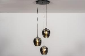 hanglamp 30966 modern retro eigentijds klassiek art deco glas zwart mat grijs rond