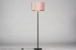 vloerlamp 30967 landelijk rustiek modern eigentijds klassiek stof metaal zwart mat roze koper