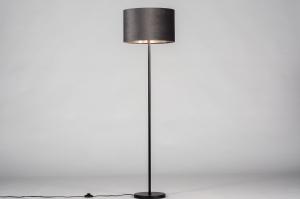 vloerlamp 30968 landelijk rustiek modern eigentijds klassiek stof metaal zwart mat grijs zilver  oud zilver